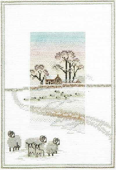 Snowy Sheep - Misty Mornings Cross Stitch Kit from Derwentwater Designs