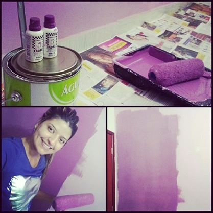 .Retocando a parede do meu Quarto, e acreditem, foi eu mesma que Pintei.#designinteriores#cor#lilás#Amo