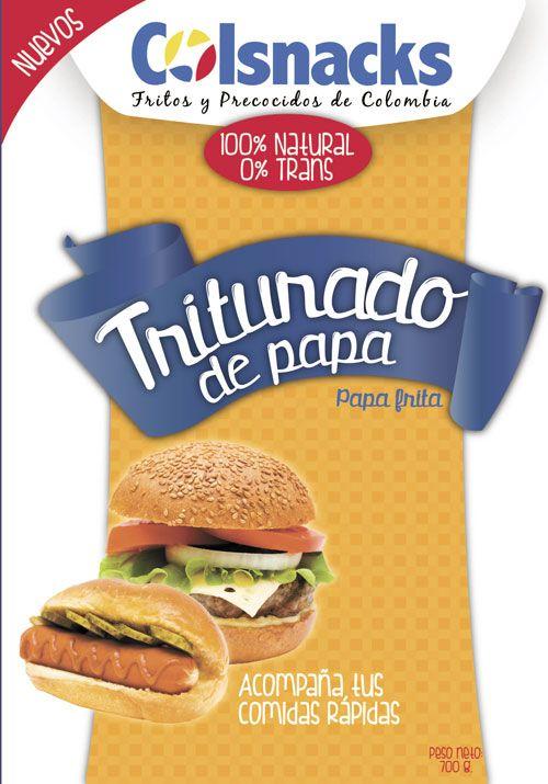 Diseño gráfico de empaque para producto de Snacks. Marca Colsnacks. Triturado de papa