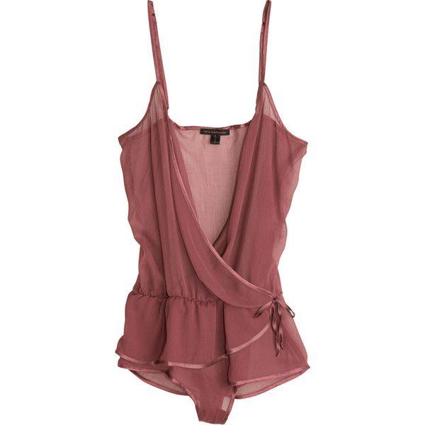 Kiki de Montparnasse Wrap Teddy (11,565 INR) ❤ liked on Polyvore featuring intimates, tops, lingerie, underwear, dresses, women, designer rtw, kiki de montparnasse, teddy lingerie and kiki de montparnasse lingerie