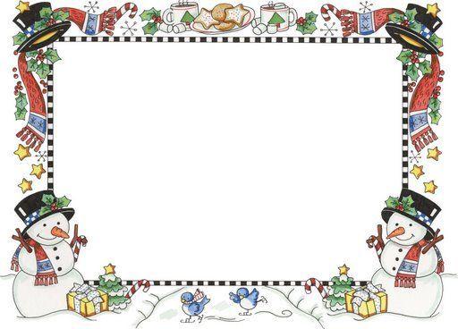 Holiday season frame with snowmen at bottom corners