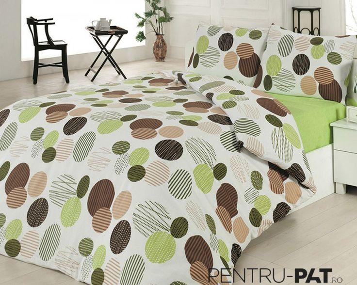 Set cuvertura pat pentru o persoana Anatolia green & brown
