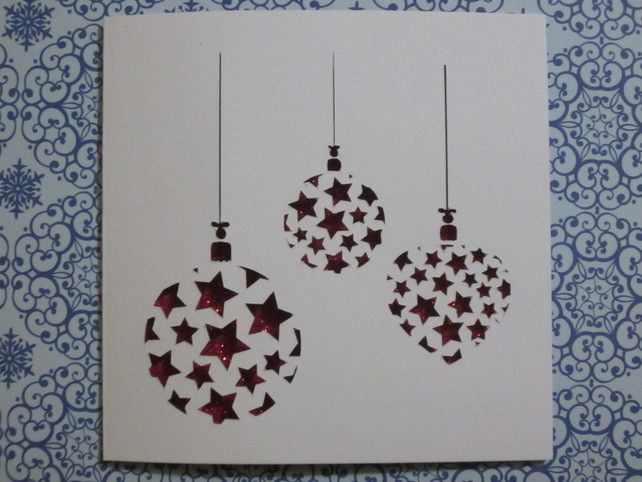 Christmas Baubles papercut card pack (4)