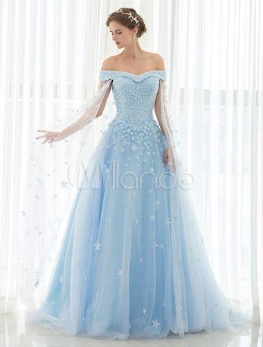 Blau Hochzeitskleid Spitze Blume Applique Off-the-Shoulder Tüll Cape Chaple Zug…
