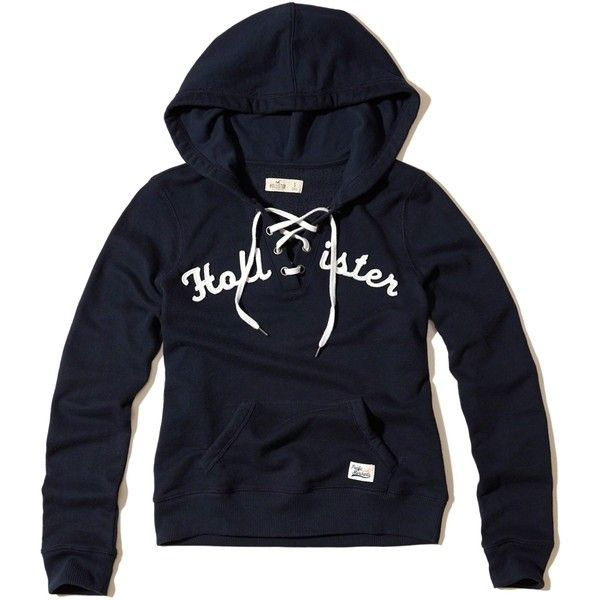 Hollister Lace-Up Graphic Hoodie ($40) ❤ liked on Polyvore featuring tops, hoodies, navy, lace up top, navy blue top, lace up hooded sweatshirt, navy hooded sweatshirt and blue hoodies