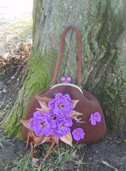 Felted handbag -Brown,purple-on Metal Frame from YuliasFeltworld by DaWanda.com
