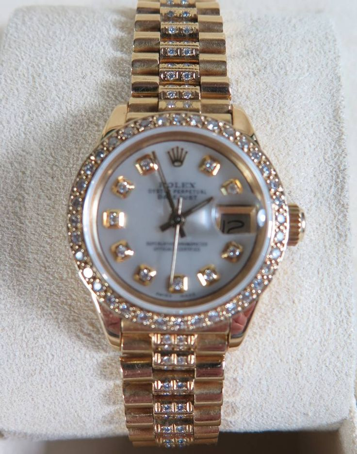 Rolex Oyster ladies wrist watch 18k gold with Diamonds to be Auctioned 15th june 2016