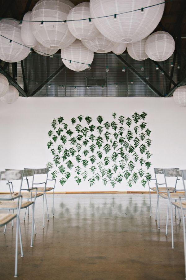 hanging fern ceremony backdrop // photo by Nicole Berrett, styling by The Beauty & The Blush // http://ruffledblog.com/fuchsia-holiday-celebration