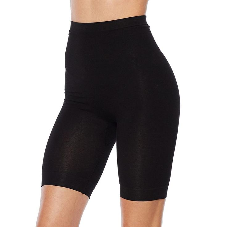 Rhonda Shear Seamless High-Waist Cotton-Blend Bermuda Short Shaper - Black