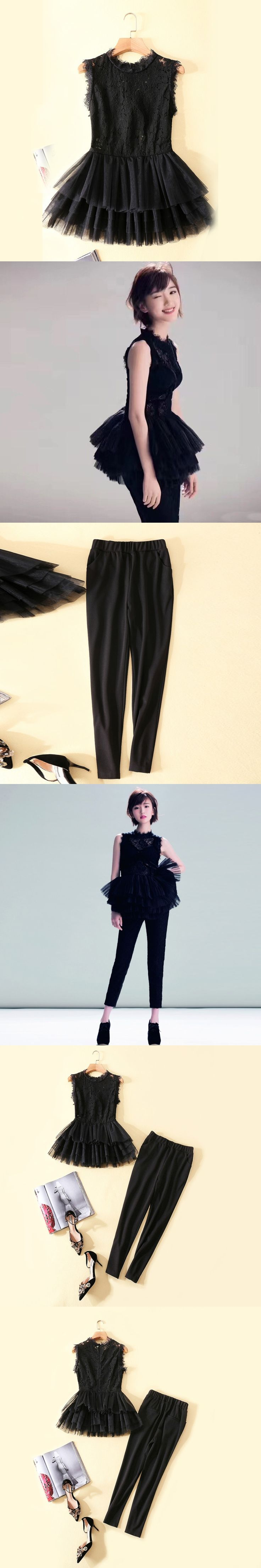 The pendulum fall 2017 new dress lace stitching pressure plait flebean coat+black slim straight trousers