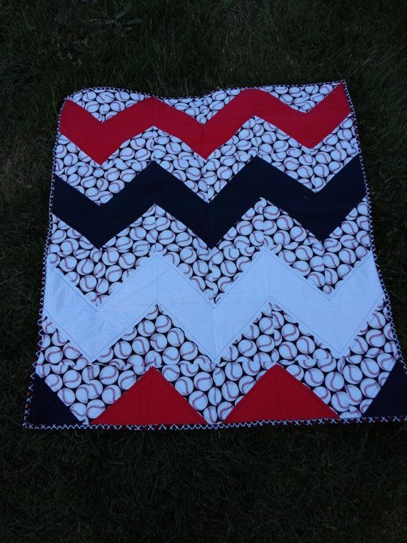 Baby Quilt / Handmade for Nursery Decor / baseball quilt/ Baby or Toddler / Ready to Ship/ SALE on Etsy, Sold