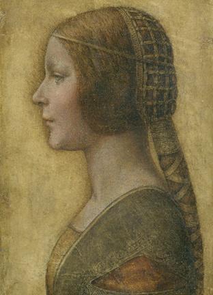 레오나르도 다 빈치- 아름다운 왕녀  이 그림은 원래 무명화가가 그린줄 로만 알았던 '르네상스의상차림의 젊은 여인'이란 그림이다. 이후 탄소 연대측정과 적외선 분석 등을 통해 다빈치의 기법과 일치한다는 결론이 나왔다고 특히 상단에 남은 지문이 로마 바티칸 성당의 '성 예로니모'에 찍힌 다빈치의 지문과 매우 유사한 것으로 나타났다고 한다. 이 인물화 속 주인공은 밀라노 공작인 루도비코 스포르자의 딸인 비앙카로 밝혀졌으며 다빈치의 작품으로 확인되자 가치가 2000만원정도에서 1000억원을 훌쩍 넘는 선으로 환산되었다.