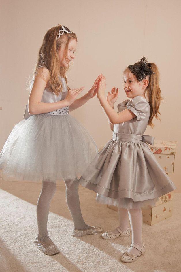 via en.dawanda.com Dresses – ANDALAZJA Grey / silver flower girl dress – a unique product by ANDALAZJA on DaWanda