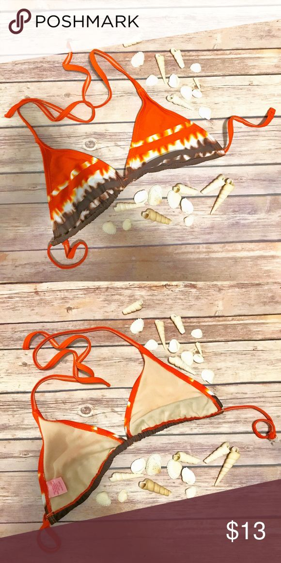 String bikini swim top. Orange and brown tie dye String bikini swim top. Orange and brown tie dye. Size unknown should fit a small-medium. Swim Bikinis