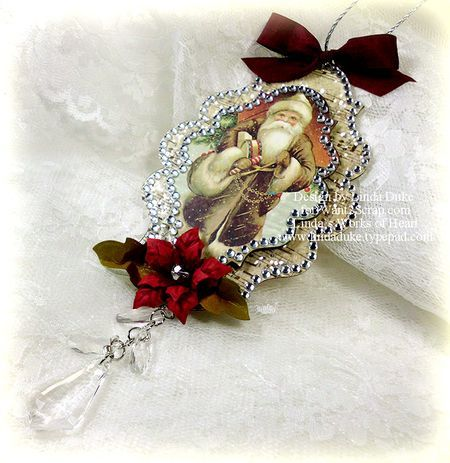 spellbinders tag - Great inspiration w/ a little trim, cut out from a card cover, (or magazine page pasted on cardboard box) adorn it and complete a beautiful Ornament