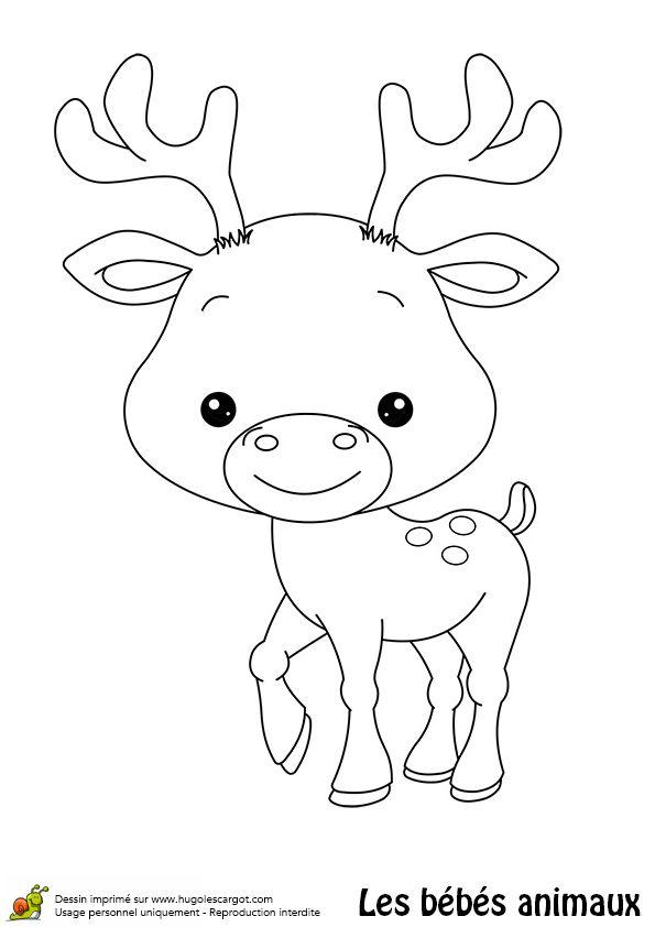 Un bébé renne avec ses deux petits cornes, à colorier