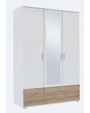 Гардероб RASANT EXTRA, корпус: цвят алп. бяло, апликации декор дъб санремо светъл.