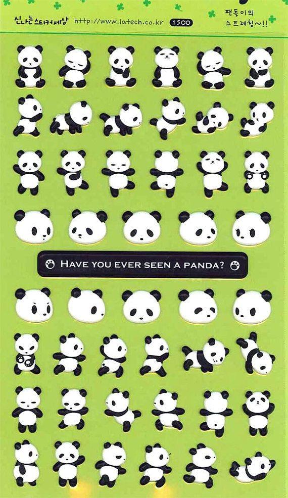 Dancing Panda Sticker Set Deco Puffy Sticker 2 Sheets by CharmTape, $3.55