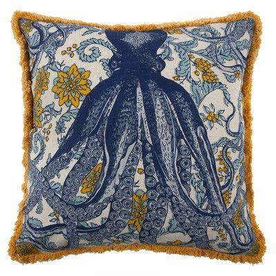 Thomas Paul Vineyard Octopus Flax Throw Pillow