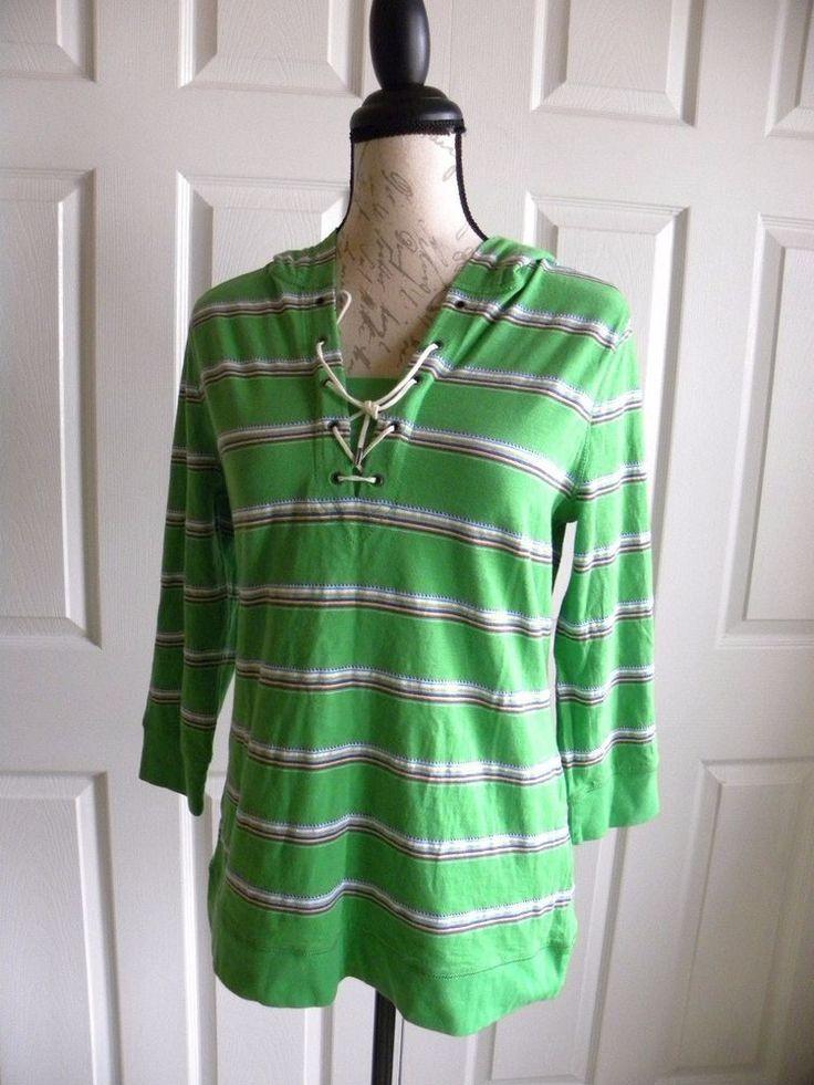 LRL Lauren Jeans Co. Size L Women's Green Stripes Tee Hoodie Long Sleeves  #LRLLaurenJeans #Hoodie