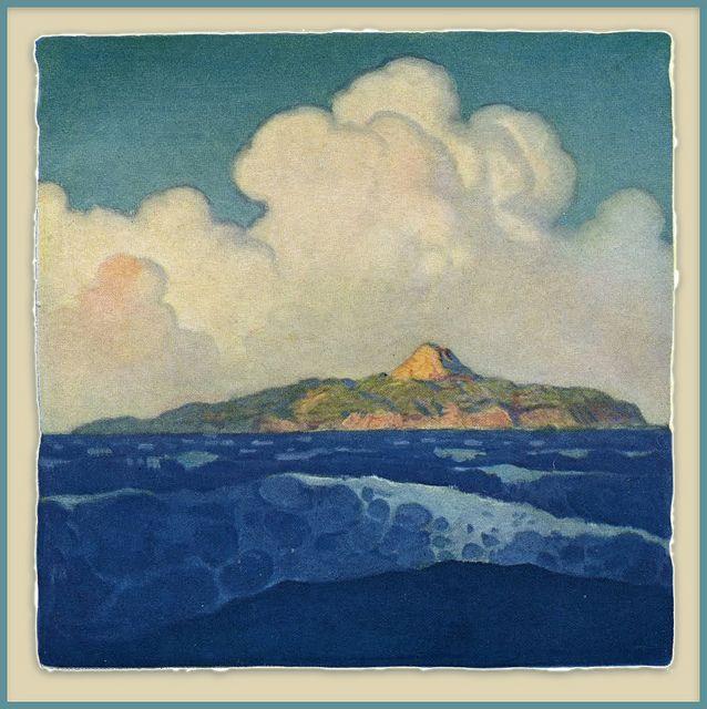N. C. (Newell Convers) Wyeth (1882-1945) - The Mysterious Island. Woodblock Print. Circa 1918.