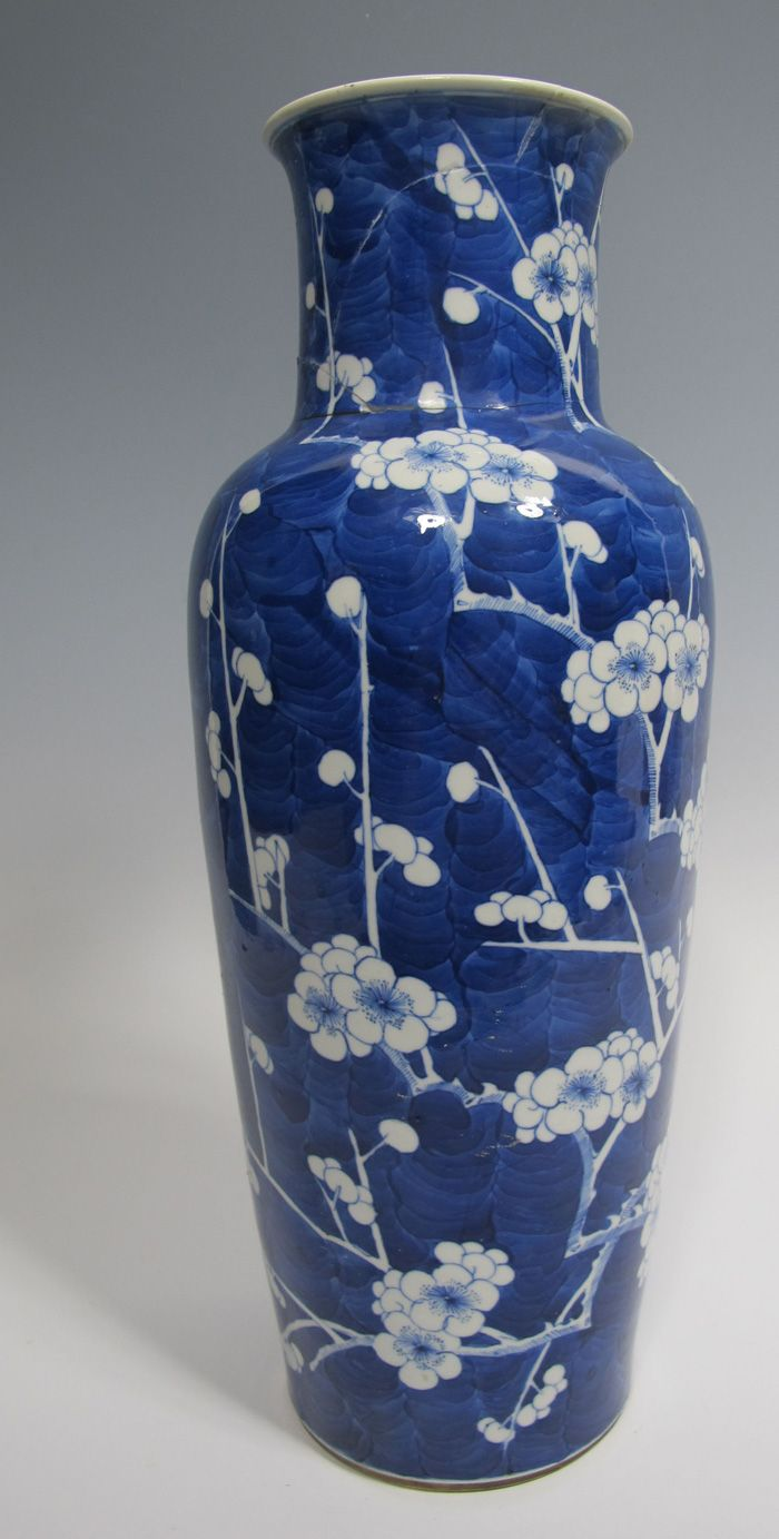Chinese 1600's Qing Kangxi Hawthorne Plum Prunus Blue White Porcelain Vase yqz 18 in Tall Ex Museum Collection Bergen Shabby Chic Cond