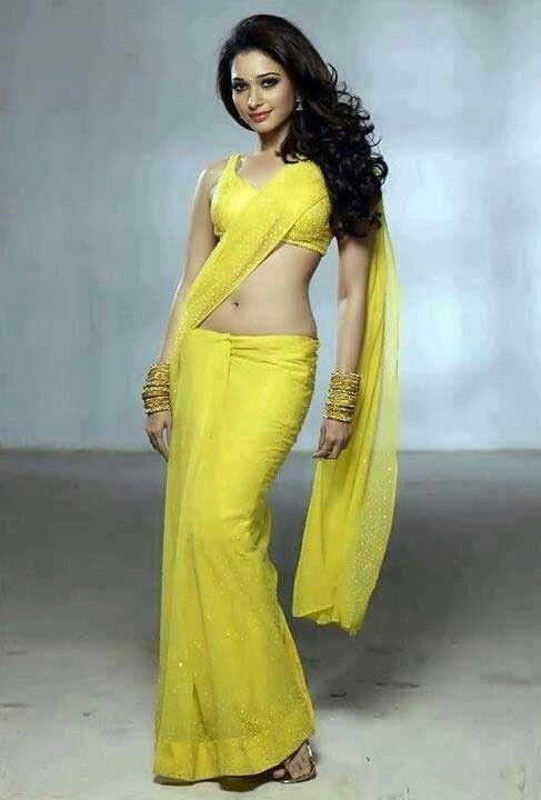Tamanna in yellow saree