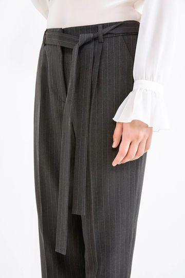 Pantaloni eleganti a righe con cintura, Nero/Grigio