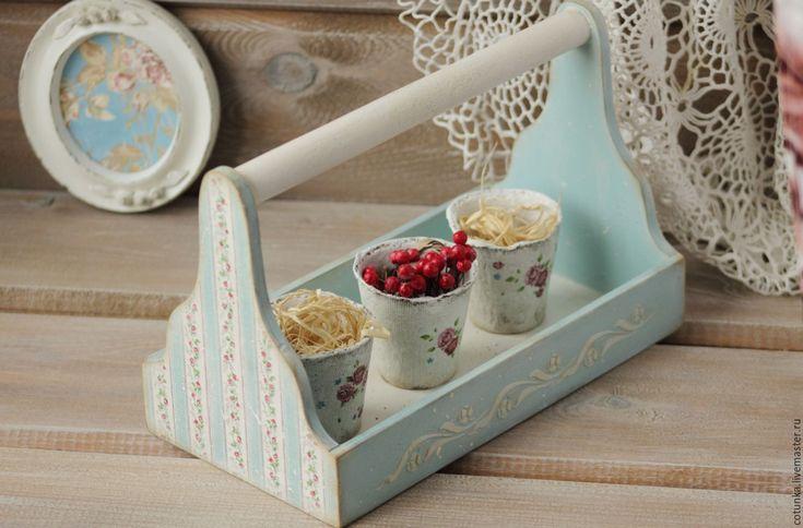 Купить Корзинка короб деревянный с ручкой в стиле шебби декупаж - корзинка деревянная