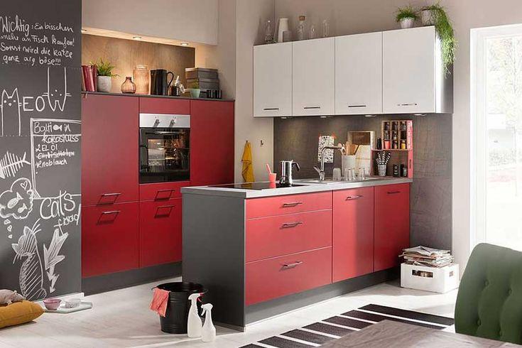 FAKTA Küchenzeile Weiß/Burgundrot   Küchenzeile weiß, Küche, Küchenzeilen
