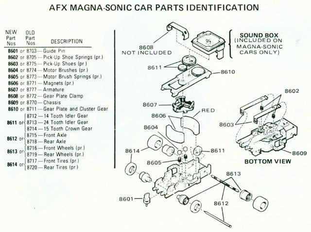 identifications  ho scale slot car chassis  aurora afx magna