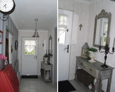 la console patine et le miroir murs en lambris blancs esprit campagne - Chambre Lambris Blanc