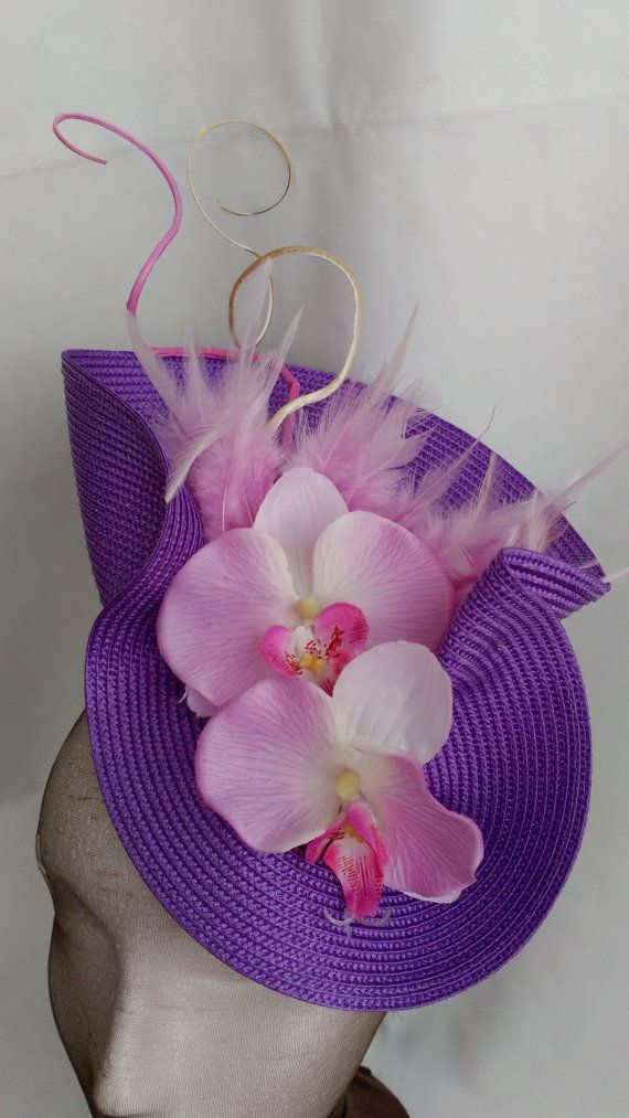 Purple fascinator with orchid purple hat ladies purple by Tocchic