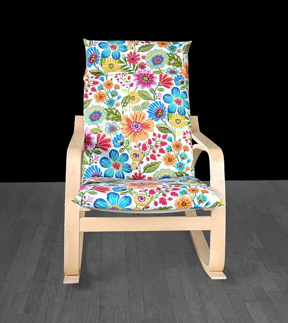 Multicolor Floral Poang Chair Cover Flowers Ikea Seat Cover Spring Ikea Cushion Cover Chair Covers Slipcover Ikea Armchair Arm Chair Covers