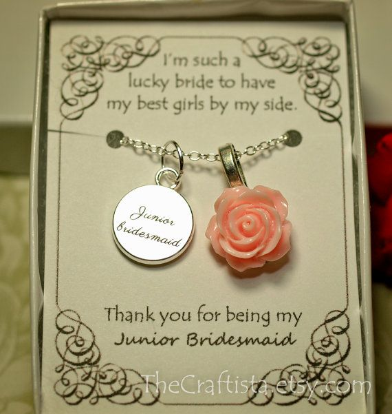 Personalized Junior Bridesmaid Necklace with Color by TheCraftista