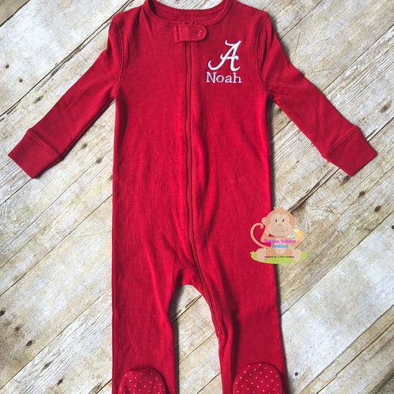 Personalized Alabama A Zip Up Footie Pajamas w/ Name Bama PJ's Sleeper Baby Infant Toddler Roll Tide Crimson Red White SEC College Football