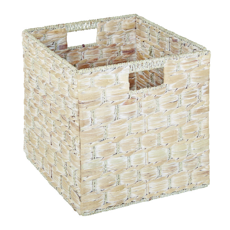 The brand new Cancun Storage Basket in white wash combines storage and style This storage basket fits perfectly into the Matrix cube cabinet range for the ultimate in sleek storage. The hand woven design reflects the artisan look of this basket and the white wash colour adds rustic appeal to your living space. It's time to de-clutter and give your home the look it deserves. Price $17.95.