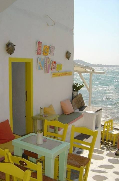 Lovely cafe by the sea , Greece morning.coffee @kyliegladwell @katerattenbury