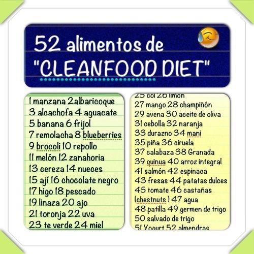 52 alimentos de la dieta limpia