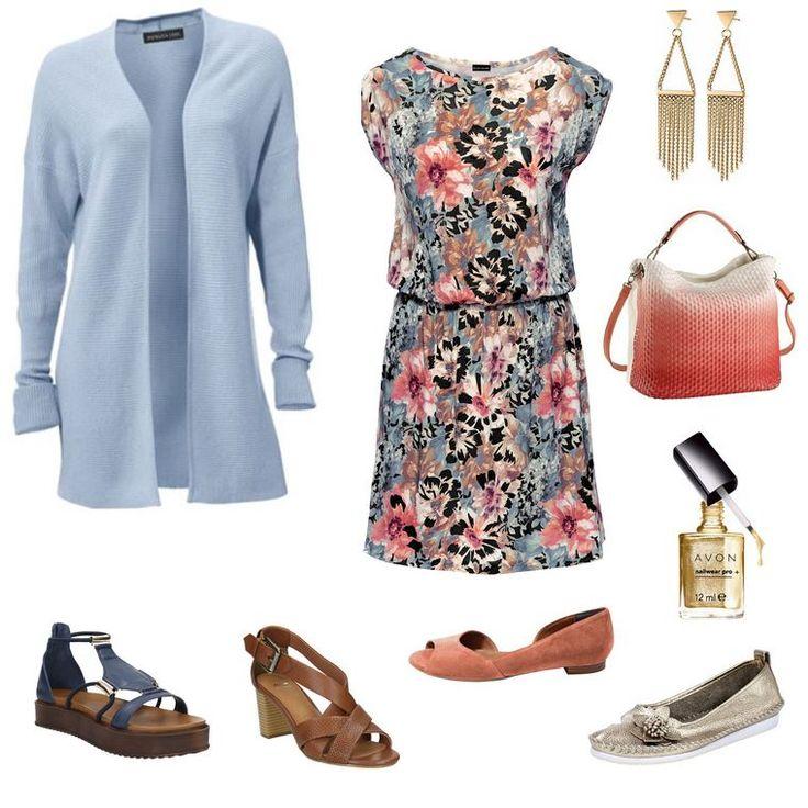 Oblečenie pre moletky - mestský look - šaty a sveter pre plnoštíhle
