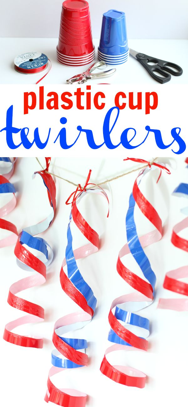 Plastic Cup Twirlers:  The perfectly cheap 4th of July decoration using the ever-American red Solo Cups!