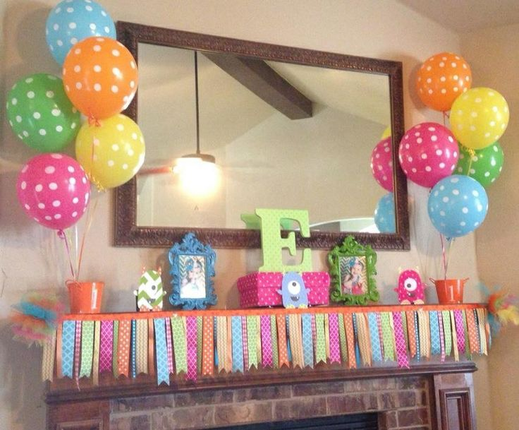 Birthday mantle mantle designs pinterest mantle for Balloon banner decoration