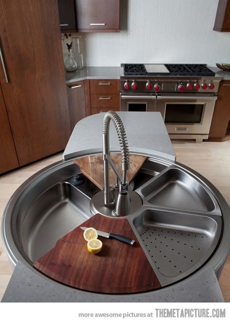 Revolutionary rotating sink…  love it, put it in the island and no more fighting for the sink over dish and food prep chores