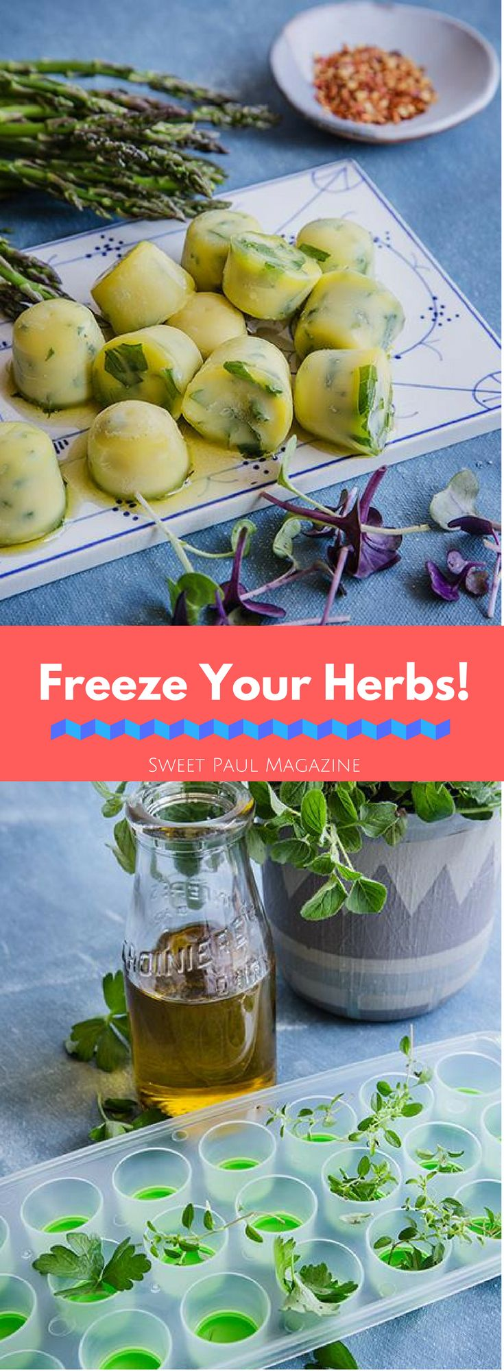 This is the easiest way to save herbs from your garden or the grocery store! I love to use this technique with herbs like rosemary, cilantro, parsley, thyme, basil, sage, and oregano. It's so easy to just pop a herb cube into a pan and cook with the fresh flavor of herbs whenever you want!