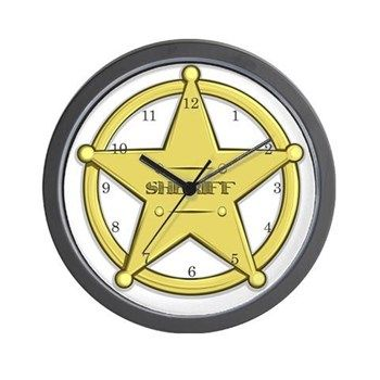 Sheriff's Badge Wall Clock from cafepress store: AG Painted Brush T-Shirts. #clock #sheriff #kids