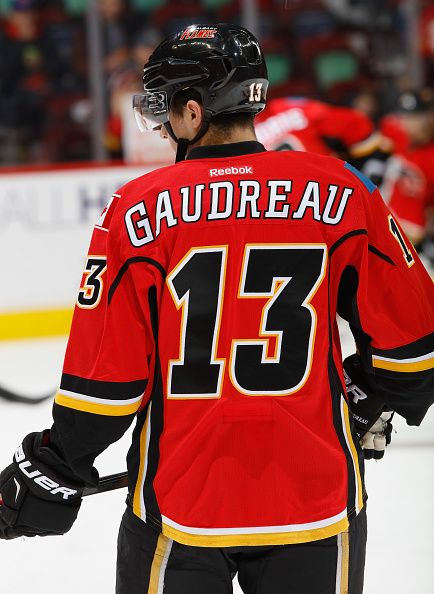 Johnny Gaudreau of the Calgary Flames skates in warm up prior to the game…