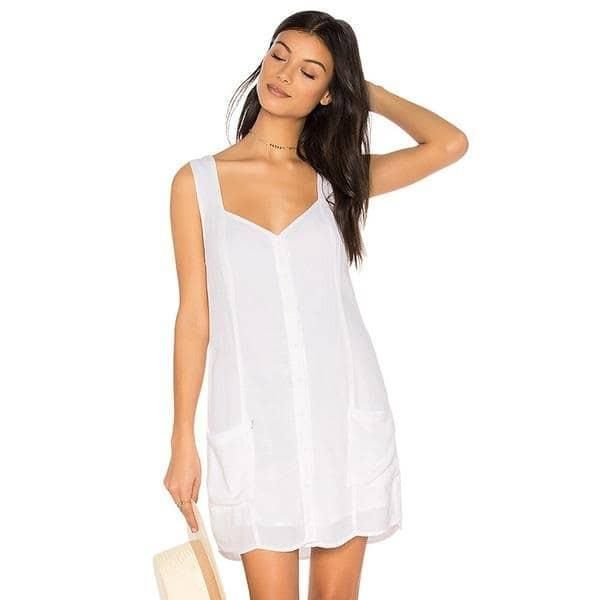 HDY Haoduoyi 2017 Fashion Dress Women Casual Sleeveless Solid White Vestidos  Brief Two Pockets V-neck Backless Summer Mini Dress fa12d937b88a