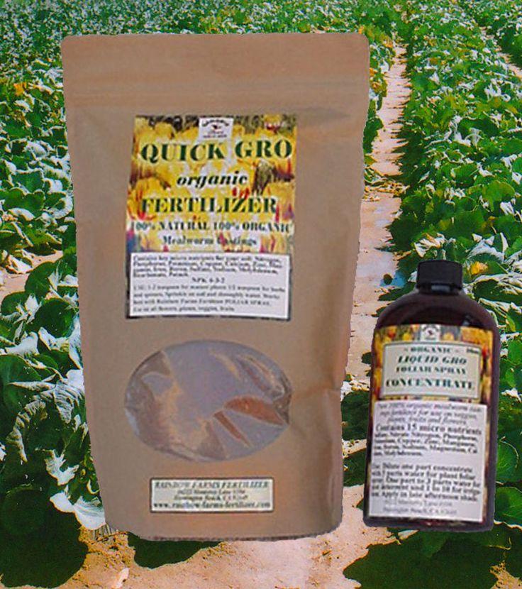 Organic Bio-Fertilizer ~ Fast Grow 100% Pure, bottle and bag #QuickGroLIQUIDGRO