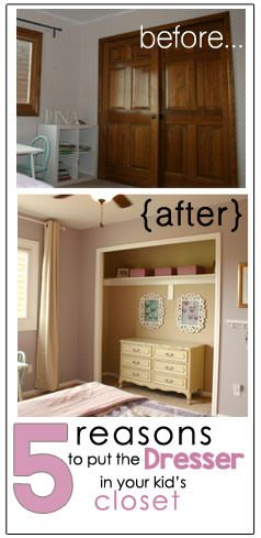 Thisboldhome: Put the dresser in your kids closet. Open closets create tons of space!