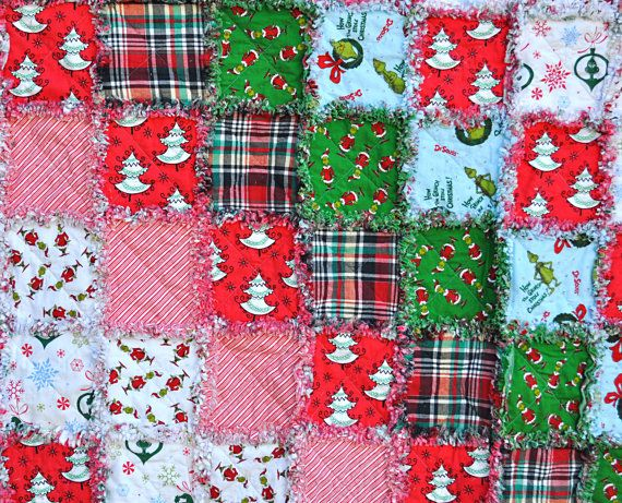 New Grinch Quilt Large Christmas Rag Quilt Featuring The